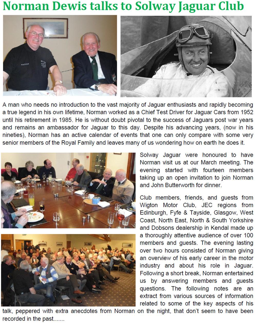 Norman Dewis visits Solway Jaguar